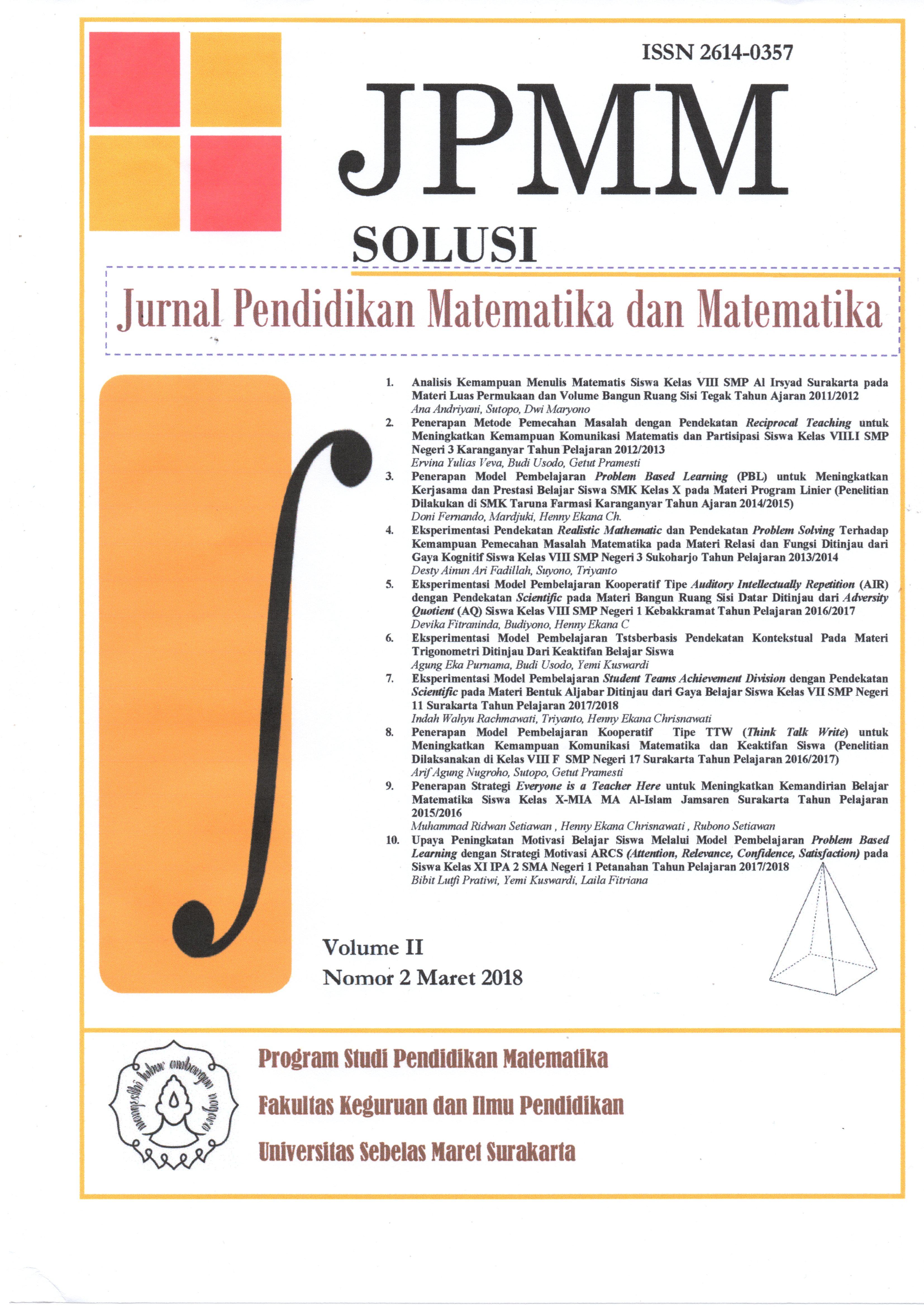 Jurnal Pendidikan Matematika dan Matematika SOLUSI